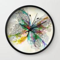 butterfly Wall Clocks featuring Butterfly by Klara Acel