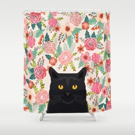 Black Cat cat breed floral pattern background pet gifts cats kitten mom gifts Shower Curtain