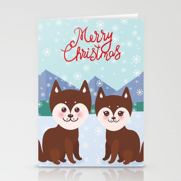 Husky Christmas Cards.Merry Christmas New Year S Card Design Kawaii Funny Brown Husky Dog Stationery Cards By Ekaterinap