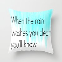 fleetwood mac Throw Pillows featuring Ombre - Blue - Dreams by Fleetwood Mac by Paxton Keating