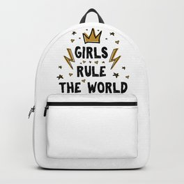 Girls rule the world - funny feminism humor sayings typography illustration with thunder and star Backpack