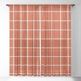 Rust Grid Sheer Curtain