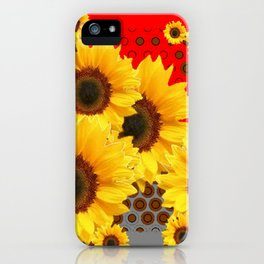RED-YELLOW SUNFLOWERS GREY ABSTRACT iPhone Case