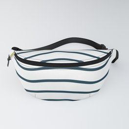 White and blue waves Fanny Pack