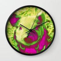 piglet Wall Clocks featuring Diabolic PIGLET by MehrFarbeimLeben