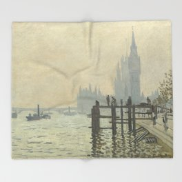 The Thames below Westminster by Claude Monet Throw Blanket