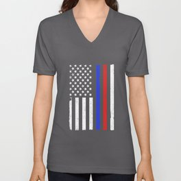 Thin Blue Red Line American Flag Police Firefighters Support Unisex V-Neck