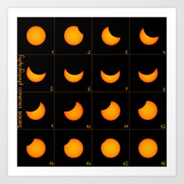 Solar Eclipse of 2015-03-20, Composite of 16 images Art Print