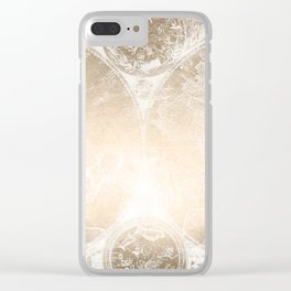 Antique World Map White Gold Clear iPhone Case