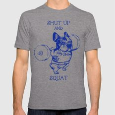 Frenchie Squat Mens Fitted Tee X-LARGE Tri-Grey