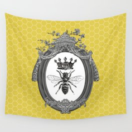 Queen Bee No. 3   Vintage Bee with Crown   Honeycomb   Wall Tapestry