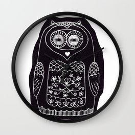 owl with glowing eyes Wall Clock