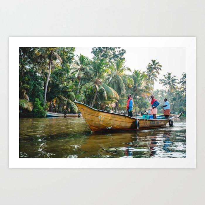 Men on the Kerala Backwaters Art Print