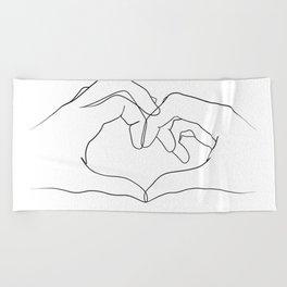 line art heart hands Beach Towel