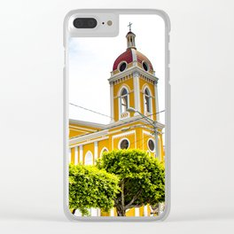 View of Granada Cathedral at the Center of Parque Central De Granada in Nicaragua Clear iPhone Case