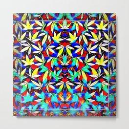 Psychedelic Pot Leaf Pattern Metal Print