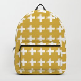 Smudgy Painted Cross Minimalist Monochromatic Mustard Yellow and White Pattern Backpack