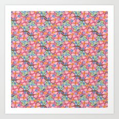 Tiled Pink Dogwood Flowers on Blue Background Art Print