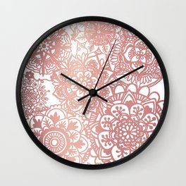 Rose Gold and White Mandala Pattern Wall Clock