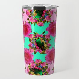 GREEN PEACOCK &  PINK ROSE GARDEN PINK PATTERN Travel Mug