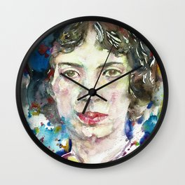 EMILY DICKINSON - watercolor portrait.3 Wall Clock