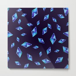 Watercolor blue  diamond crystals Metal Print