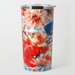 Geometric Flowers and Bees Travel Mug