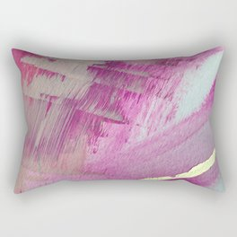 Starburst: a colorful, minimal abstract mixed-media piece in pinks and gold by Alyssa Hamilton Art Rectangular Pillow