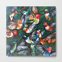 Hummingbirds Fight Metal Print