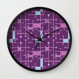 Intersecting Lines in Purple, Pink and Blue Wall Clock
