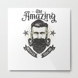 Muscle Stache Metal Print