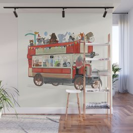 the big red party bus Wall Mural