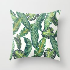 Jungle Leaves, Banana, Monstera II #society6 Throw Pillow