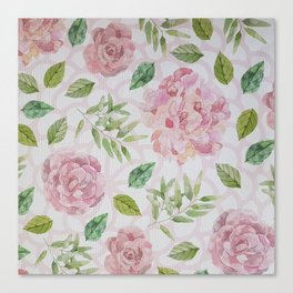 Summer blush pink raven green watercolor floral Canvas Print