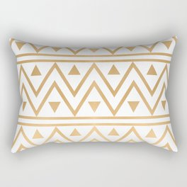 White & Gold Chevron Pattern Rectangular Pillow