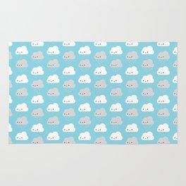 Happy and Sad Kawaii Clouds Rug