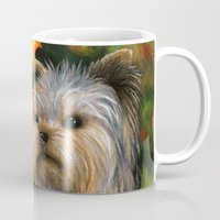 yorkie Mugs featuring Yorkie dog by ArtbyLucie