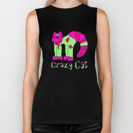 Crazy Cat Pink and Green Biker Tank