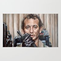 bill murray Area & Throw Rugs featuring Bill Murray / Ghostbusters / Peter Venkman by Heather Buchanan