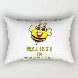 Spelling Bee Bee.Lieve In Yourself Funny Bumblebee Motivational Kids Design Rectangular Pillow