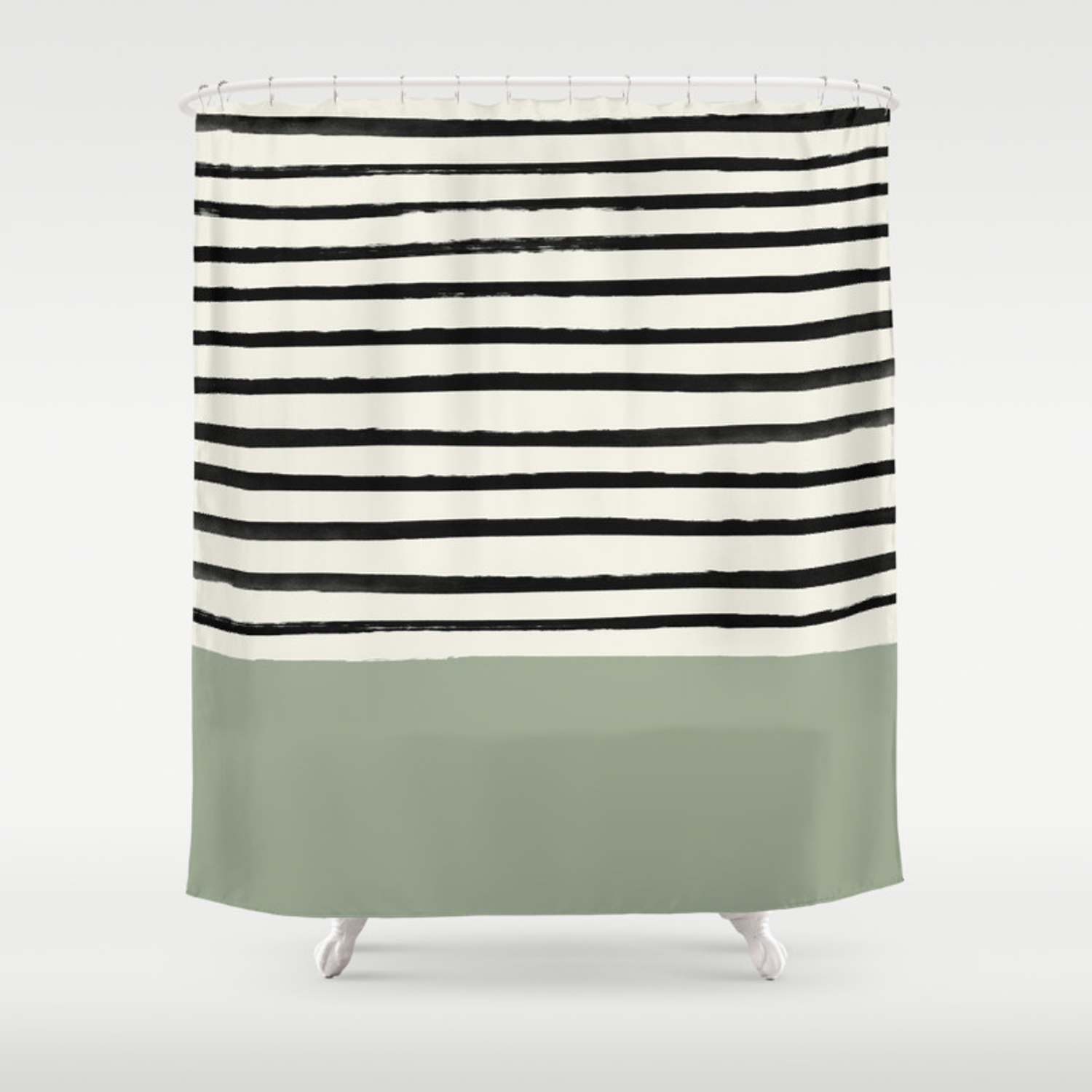 Sage Green X Stripes Shower Curtain