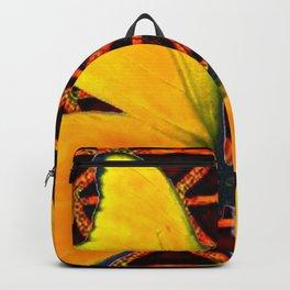 YELLOW BUTTERFLIES BROWN ART Backpack