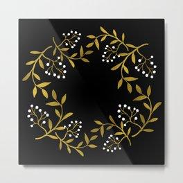 Wreath gold&white Metal Print