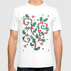 Christmas Curls White SMALL Mens Fitted Tee