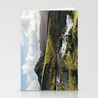 cassia beck Stationery Cards featuring Cinderdale Beck flowing below Whiteless Pike towards Crummock Water. Cumbria, UK. by liamgrantfoto