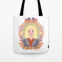 heymonster Tote Bags featuring Leslie Knope by heymonster