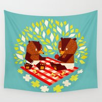 yetiland Wall Tapestries featuring picknick bears by Yetiland