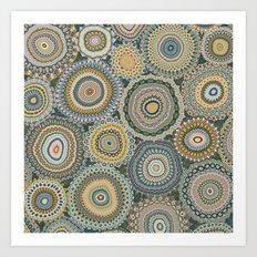Boho Patchwork-Mineral Colors Art Print