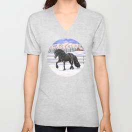 Friesian Horse Trotting In Snow Unisex V-Neck