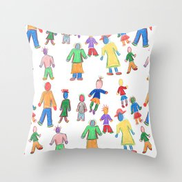 Multicolor People Multiples Throw Pillow